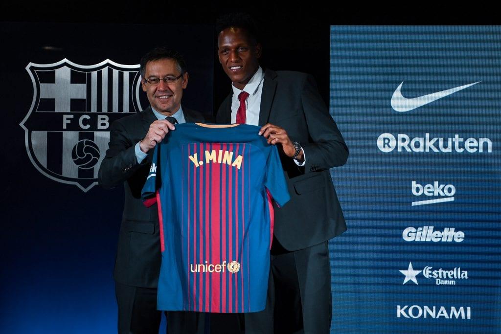Josep Maria Bartomeu Yerry Mina Barcelona Champions League board